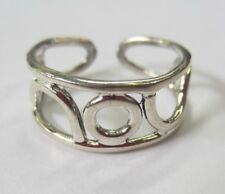 Sterling Silver Adjustable Toe Ring Solid 925 Jewelry 7.5mmH