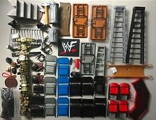 WWF WWE Wrestling Figure Accessory Lot TABLES LADDERS CHAIRS BELTS STAIRS WEAPON