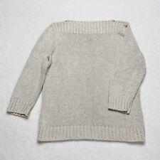 RALPH LAUREN Sweater Boatneck Beige Oatmeal Marled Silk Linen Blend M