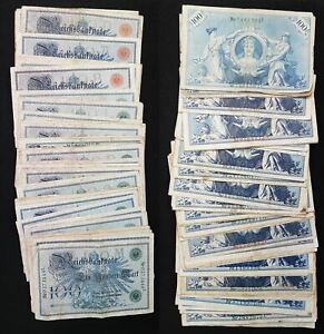 Germany Lot Banknotes Approx. 1908 50x 100 Reichsmark Used 63782