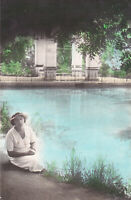 1930s Pretty young woman girl near pond old hand tinted Russian antique photo