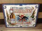 Vintage Anheuser Busch Beer Tin Metal Sign Glass Bottled Logo Classic Bar