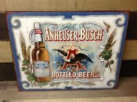 Vintage Anheuser Busch Beer Tin Metal Sign Glass Bottled Logo Classic Bar