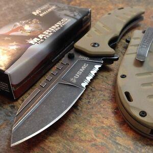 "8.5"" USMC MARINES TACTICAL SPRING ASSISTED FOLDING KNIFE Blade Pocket Open"