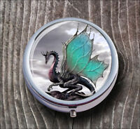 DRAGON LEGENDARY WORLD PILL BOX ROUND METAL -d3r4v