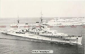 "Photograph Royal  Navy. HMS ""Nigeria"" Cruiser. Entering Malta. WW11 Fine ! 1946"