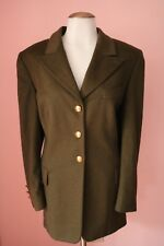 Escada 42 12 Luxury Angora Olive Green Shimmer Womens Designer Blazer Jacket