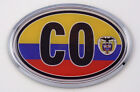 Colombia CO Flag Car Chrome Emblem Bumper Sticker flag decal oval