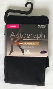 MARKS AND SPENCER Autograph Black Merino Wool Opaque Tights Sz L NWT 100 Denier