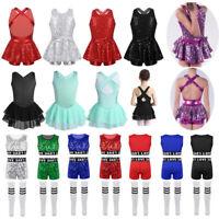 Girls Modern Tap Jazz Dance Dress Sparkly Leotard Skating Tutu Costume Dancewear