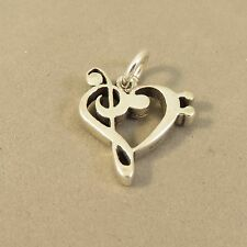 .925 Sterling Silver TREBLE & BASS CLEF HEART CHARM Pendant NEW Music 925 MC35