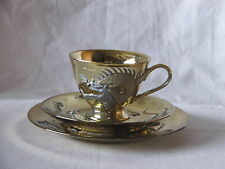 Vintage Collectable ~ Japanese Teacup Trio Set Dragonware Moriage Gold Gilding