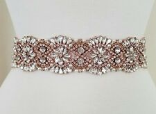 "Wedding Belt, Bridal Sash Belt - ROSE GOLD Crystal Pearl Sash Belt = 18"" long"