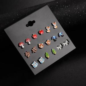 9 Pairs lot Cute Resin Small Animal Fox Frog Bear Owl Stud Earrings Girls women
