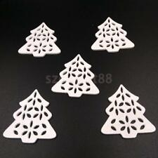 50pcs White Hollow Wooden Flatback Embellishment Christmas Tree Home Decor