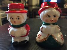 Vintage Boy And Girl Cute Figurines Decor Holiday Christmas Candle Holders 2 1/2