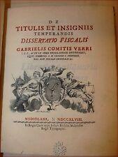 VERRI, Gabriele: De TITULIS et INSIGNIIS TEMPERANDIS 1748 Nobiltà Aristocrazia