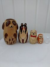 Vintage Russian Nesting Stacking Dolls  Matryoshka Set of 5 Dogs