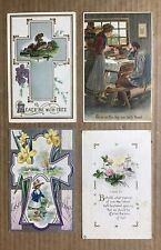 4 Vintage Greeting Postcards ~ Bible Verse Religious Peace Give us this Day Our