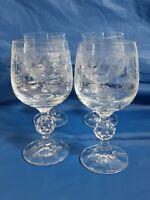4 Vintage Wine Glasses Floral Etched Embossed Swag 6oz  Diamond Cut Stem