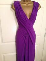 Gorgeous Coast Ladies Purple Stretch Maxi Occasion Party Dress Size 10/12
