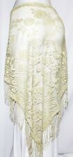 Beige Gypsy Tribal Belly Dance Dancing Sarong Flamenco Lace Scarf Fringe Belt
