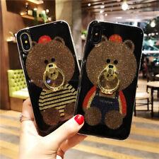 Cute Cartoon Bear Cover Soft TPU Phone Case For iPhone Samsung Huawei Series