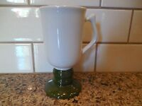 Vintage HALL PEDESTAL MUG (1272) Ivory with Green Base Irish Coffee Cup Stein