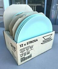 IKEA Strosa Set of 12 Turquoise Blue Green Dinner Dessert Plates Bowls