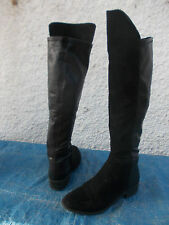 BLACK FAUX LEATHER & SUEDE STRETCH PULL OVER OVERKNEE BOOTS-SZ 7 VGC