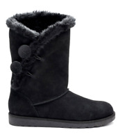 Black Boots Womens 8.5 w/ Fur Lining NEW Suede Winter Shoes NIB 8 1/2 Image Boot
