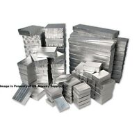 100 Assorted Sizes Mix Silver Cotton Fill Jewelry Packaging Gift 2 Piece Boxes