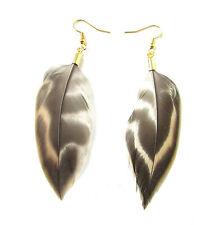 Brown Gold Pheasant Feather Earrings Drop Dangle Hook Vintage Boho Festival 6AK
