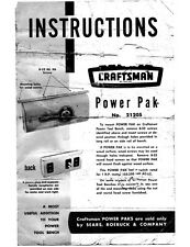 Craftsman 21205 Power Pak Motor & Accessory Lamp Switch Instructions