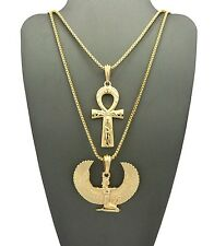 NEW EGYPTIAN MAAT & ANKH CHAIN SET