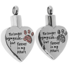 2 Pcs Stainless Steel Heart Shape Pet Urn Ashes Pendants Memorial Cremation