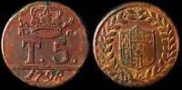 pci958) Regno Due Sicilie  Napoli Ferdinando IV  Tornesi 5 1798