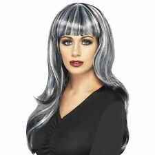 Black Long Ondulés halloween Perruque Gris Stries Femmes Robe à accessoire robe fantaisie