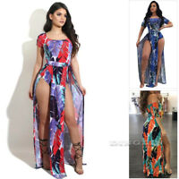 Women Summer Boho Beach Sundress High Split Slit Evening Party Long Dress CHK