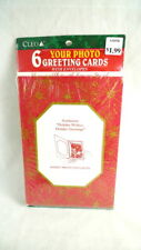 6 CHRISTMAS PHOTO CARDS Red & Gold Holiday Greetings NEW