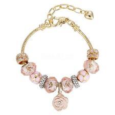 European 925 Silver Chain Bangle Crystal Bead Charms Bracelet Cuff Gift Flower f