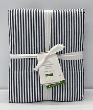 NEW Pottery Barn Wheaton Stripe Organic Percale CAL. KING Sheet Set~Navy Blue