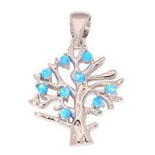 "Life Tree Blue Fire Opal Women Jewelry Gemstone Silver Pendant 1 1/8"" OD5445"