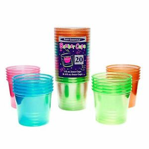 1 Party Essentials 4 Oz. Bomber Cups (soft Plastic) -Assorted Neon 20 Ct.