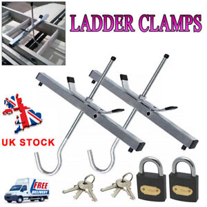 Universal Heavy Duty Ladder Roof Rack Clamp Clamps Lockable Free Locks Ladders