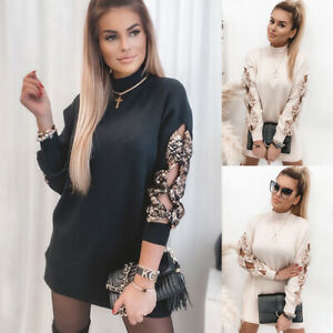 Women's Sequin Bow Knot Long Sleeve Jumper Dress Ladies Casual Long Top Pullover