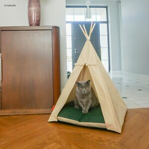 Cat Teepee bed-Bottle Green, cat tipi including pillow*luxury cat house*cat tent