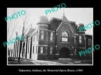 OLD POSTCARD SIZE PHOTO OF VALPARAISO INDIANA VIEW OF THE OPERA HOUSE c1905