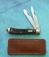 SCHRADE USA Gunstock Trapper Knife 293 VINTAGE Serpentine Jack Open Stock Folder
