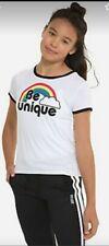 JUSTICE GIRLS RINGER TEE SHIRT BE UNIQUE RAINBOW BTS SZ 12 tshirt Retro Classic